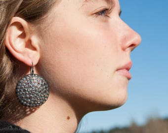 oxidized, perforated sterling silver earrings, round 38mm