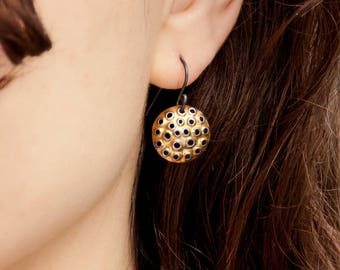 Perforated 22k gold earrings, small round 15mm