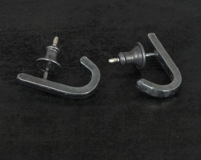 Stud Earrings- Shiny Hammered J Wrap Studs