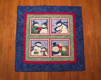 Quilted Snowman Wall Hanging or Table Topper, Snow Family, Baby Snowman, Top Hat, Snowflakes, Winter, Holidays, Christmas, Hearts