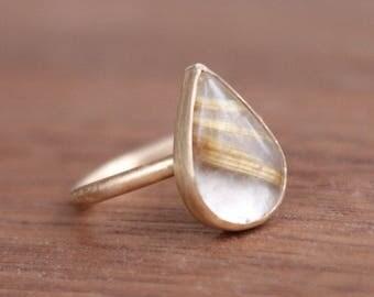Rutilated Quartz Teardrop Ring, 14k gold, silver