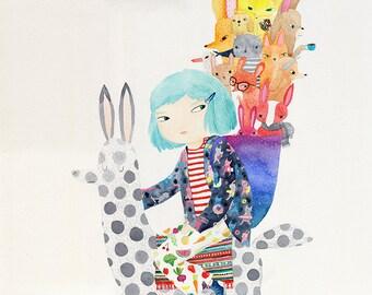 Adventure lama A3 print - watercolour illustration print - blue hair girl riding lama