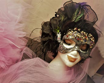 Mardi Gras party carnival mask vintage beads feathers organza flower handmade
