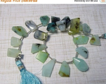 SALE 20% Off Natural Blue Peruvian Opal Briolette Beads, Slice Beads,  8mm 10mm 12mm 14mm 16mm Gemstone