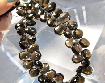 SALE Out Of TOWN AAA Natural Smokey Quartz Briolette Beads, 9mm 10mm  12mm Briolette Beads