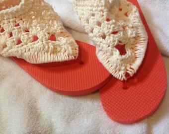 Orange and Cream Short Gladiator Sandals - Crochet Sandals - Boho Sandals - Gladiator Flip Flop Sandals - Flip Flop Sandals - Flat Gladiator