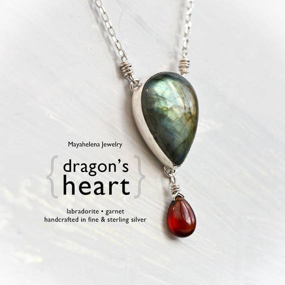 Dragon's Heart - Wire Wrapped Green Blue Flashy Labradorite Cabochon and Red Garnet Briolette Sterling Silver Necklace