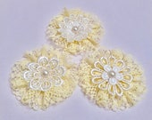 Yellow Lace Rosettes, Package Toppers, Shabby Chic, Spring, Easter Home Decor, Alternative Gift Bow, Journal Cover, Applique, Gift Wrap