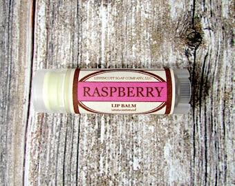Raspberry Lip Balm - Unsweetened Lip Balm - Phthalate Free - Berry Lip Balm - Beeswax Lip Balm - Gift for Her