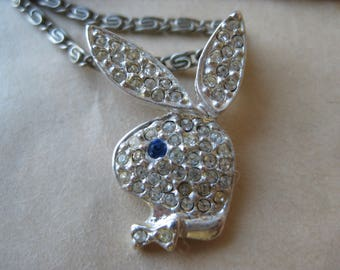 Playboy Rhinestone Necklace Clear Blue Vintage Pendant Silver