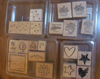 4 Sets Stampin UP, star,Heart, Sun,Note Card Stamps,