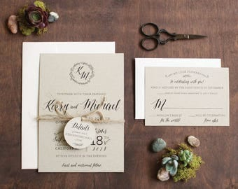 Rustic Floral Wedding Invitation, Floral Monogram Wedding Invitation, Mountain wedding, Kraft wedding invitation, SAMPLE