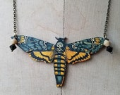 destash Death's Head Moth Pendant Black Yellow Butterfly Necklace
