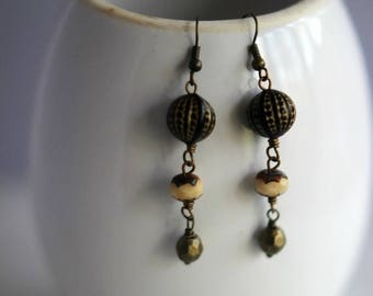 50%OFF Black and Gold Beaded Earrings, Cream Beads, Vintage Lucite, Antiqued Gold Dangles