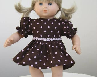 Summer Sale 20% Off Doll Clothes-Made  For  BITTY BABY DOLLS, Brown and PInk Polka Dot Dress Fits Bitty Baby and Bitty Twins