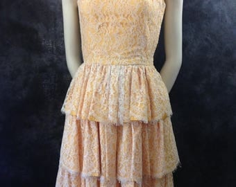 ON SALE Vintage 1950's 1960's lace tiered dress gold taffeta