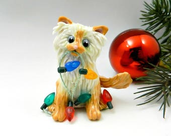 Himalayan Persian Cat Flamepoint Christmas Ornament Figurine Lights Porcelain