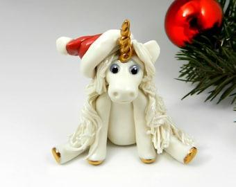 Unicorn Christmas Ornament Figurine Santa Hat Porcelain
