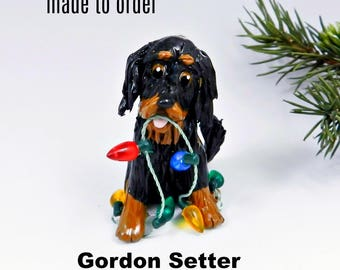 Gordon Setter Porcelain Christmas Ornament Figurine Made to Order