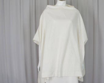 ecru tunic, silk jumper, raw silk stripe top