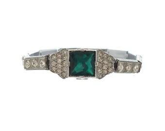 Antique Emerald Art Deco Bracelet, Designer Nov-E-Line Emerald Cuff, 1920s Fine Rhinestone Jewelry, Emerald Wedding Jewelry