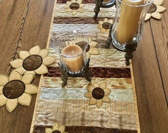 Quilted Table Runner . . . Applique SUNFLOWERS . . . Golden Yellow and  Brown . . . Mid Summer Blooms