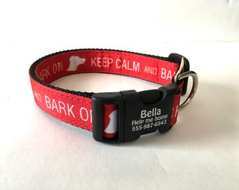 """Keep Calm and Bark On Personalized Pet Identification Buckle Bold Red Rescue Breed 1"""" Wide Novelty Collar Custom Made in USA"""