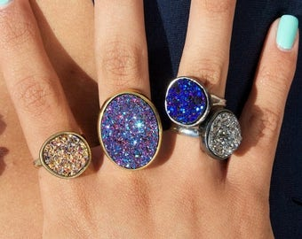 SUMMER SALE Drusy quartz ring in blue, gold, silver or purple