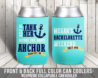 help us tank her bachelorette party can coolies, beverage insulators for wedding bachelorette parties -  ocean anchor beach theme MCC-011