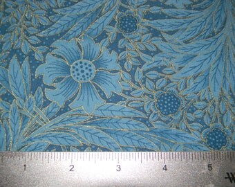 Essex in Blue Cotton Floral Metallic Fabric by Timeless Treasures