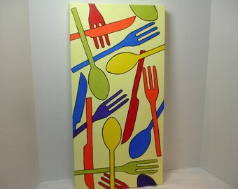 KITCHEN ART - Festive Tableware - Knives Forks and Spoons in BOLD colors - 10x20 Deep Edge Canvas Art - Original Acrylic Painting