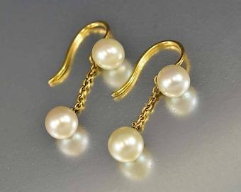 Art Deco Pearl Earrings   14K Gold Dangle Earrings   Vintage Cultured Pearl Earrings   Pierced Drop Earrings   Art Deco Bridal Earrings