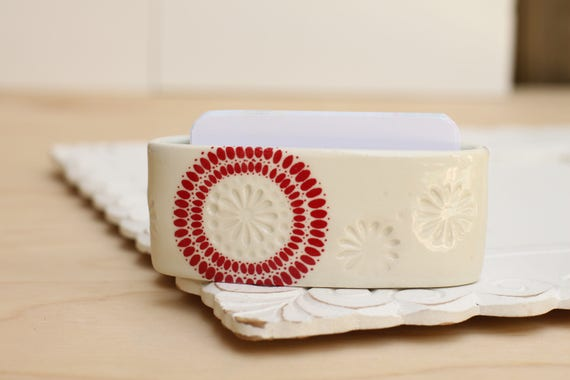 red and white card holder, porcelain