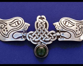 Celtic Lions Pin W/ Green Tourmaline Cabachon- Sterling Silver