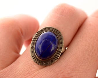 Sterling Silver and Lapis Ring, Hand Stamped Oxidized Silver Ring, Lapis Statement Ring, Handmade Artisan Ring Size 7.75