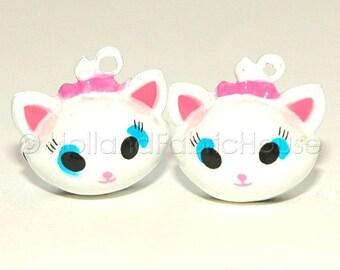 FINAL CLEARANCE SALE Kawaii Jingle Bell Charms -- Cute Kittens: Set of 2