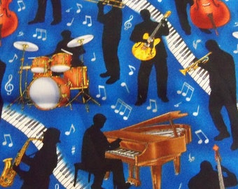 Music Notes Jazz Blues Cotton fabric Piano Drums Violin 1 yard