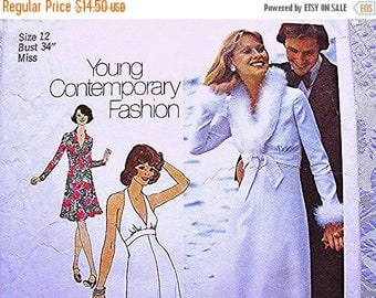 on SALE 25% Off 1970s Maxi Dress Pattern, Misses size 12 Bust 34 UNCUT Womens 70s Halter Dress Pattern with Jacket Sewing Pattern