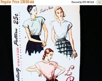 on SALE 25% Off 1940s Blouse Pattern 40s Simplicity Pattern Misses size 16 Bust 34 Womens Short Sleeve Blouse Sewing Pattern