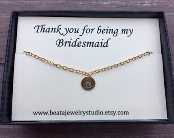 Bridesmaid Gift, 14K gold filled initial necklace, Custom Initial Necklace, Mother of the bride gift, Flower Girl Gift, Maid of Honor Gift,