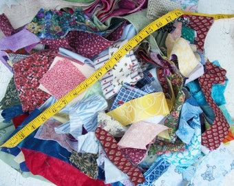 Cut Quilt Scraps Pieces Fabric Quilt Pieces Vintage Large Lot of Cut Fabric Squares, Fabric Strips, Craft Lot