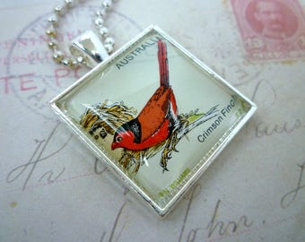 Square Glass Pendant - Recycled Vintage 1978 Australian Stamp - CRIMSON FINCH - Bird - Chain included
