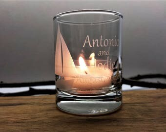 72 Sail Boat Beach Personalized Wedding Favor Candle Holders Nautical Favors Engraved Glass Votive Holders Custom Wedding Keepsake