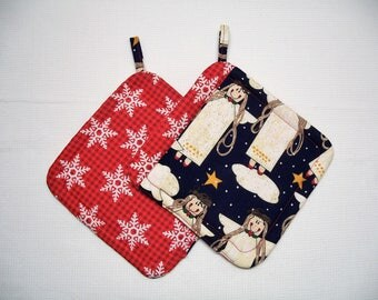 Christmas Insulated Fabric Pot Holders, Angels, Set of 2, Trivet, Hot Pad, Red & Blue Potholder, Hostess Gift, Holiday Gift