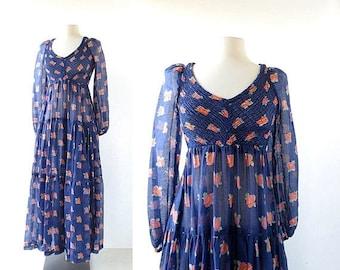 20% off sale Floral Maxi Dress | Gartenmusik | 1970s Dress | XS S