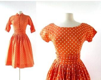 20% off sale 50s Dress with Jacket | Just Whistle | Orange Polka Dot Dress | 1950s Dress | XS