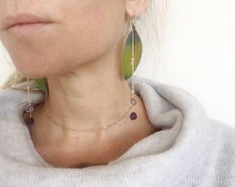 Rainbow Macaw Feathers Cruelty Free Amethyst Gemstone 12k gold fill Earrings