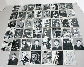 46 Beatles B/W Topps Bubble Gum Cards, Vintage 1960s Black and White TCG