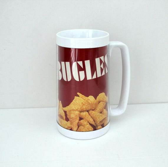 Vintage Thermo Serv Bugles Mug, Snack Chips Advertising Hard Plastic Cup