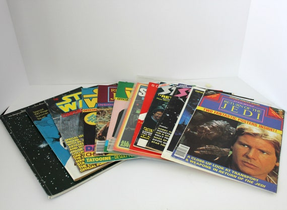 Lot 12 Star Wars Magazines with Posters, Vintage ROTJ Fanzines